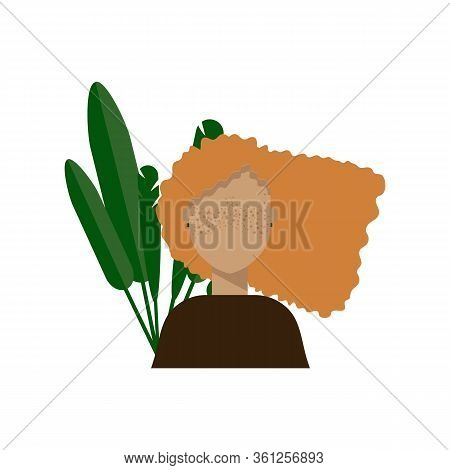 Illustration Of A Beautiful Girl With Freckles. Young Woman And Foliage Behind. European Girl With B