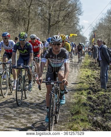 Wallers,france - April 12,2015: The Belgian Cyclist Yves Lampaert Of  Etixx-quick-step Team Riding I