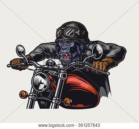 Cruel Gorilla Biker Vintage Colorful Concept On Light Background Isolated Vector Illustration