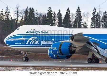 Boeing 747-8f Air Bridge Cargo Pharma Landing At The Russia Moscow Sheremetyevo International. 24 Fe