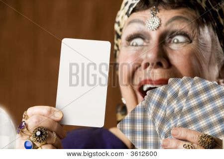 Fortune Teller With Blank Tarot Card