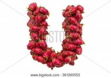 Letter U From Dragon Fruits, 3d Rendering Isolated On  White Background