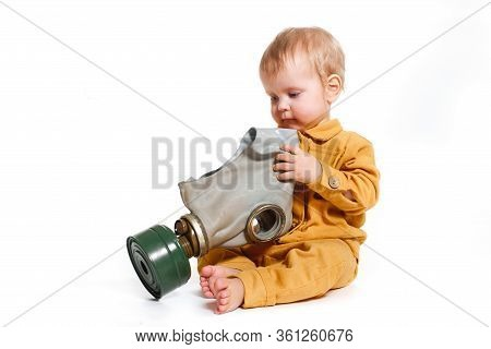 Little Boy With Gas-mask Isolated On White Background