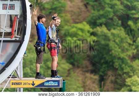 Sochi, Russia - June 7, 2015: Man With Go Pro Camera On His Wrist Is About To Jump 207 Meter Bungy A