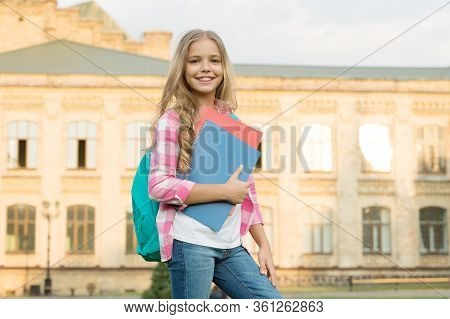 Schoolgirl Daily Life. School Club. Modern Education. Private Schooling. Teen With Backpack. Stylish