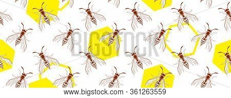 Wasp Insect Geometric Seamless Cover. Dangerous Design For Textile, Fabric Texture. Yellow Bugs On W