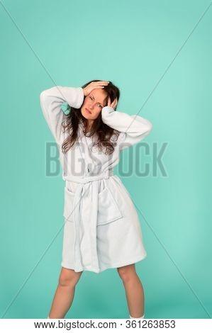 When Headache Attacks. Sexy Woman Suffer From Headache. Sick Girl Got Terrible Headache. Migraine Or