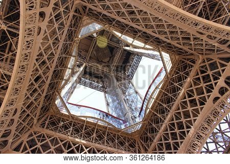 Underneath View Of The Eiffel Tower Structure