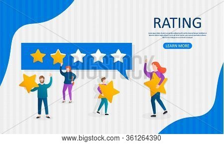 Different People Give Feedback Ratings And Reviews.characters Hold Stars Above Their Heads.evaluatio