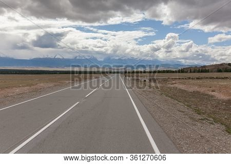 Summer In Altai Russia, Road To Altai Mountains, Beautiful Summer View Of Altai Mountains.