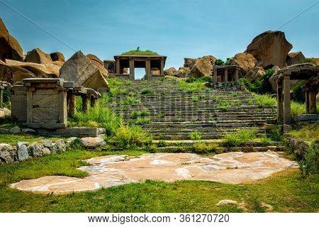 Ancient ruins in Hampi. Hampi Bazaar, Hampi, Karnataka, India