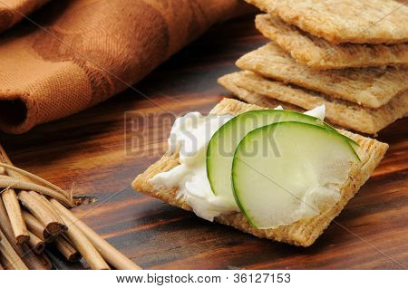Crackers With Cream Cheese And Cucumber