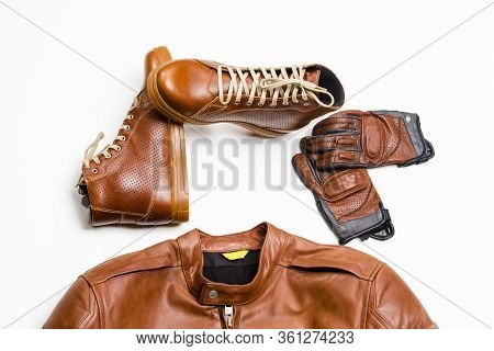 Set Of Protective Moto Clothing Consisting Of Leather Jacket, Leather Tan Boots And Stitched Crafted