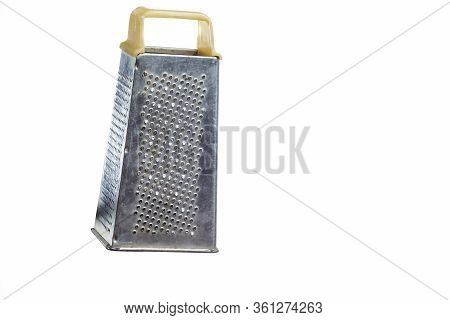 Old Used Grater Made Of Stainless Steel Isolated Over Pure White Background.