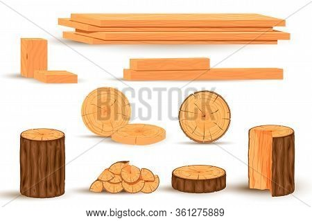 Timber Set. Stacked Timbers And Firewood Logs, Forest Trees Objects And Wood Lumber Production Carto