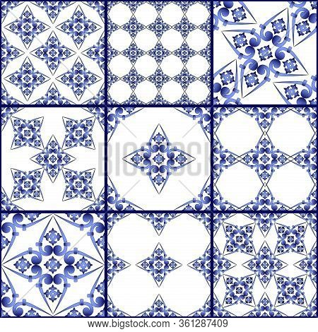 Seamless Patchwork Tile. Majolica Pottery Tile. Portuguese And Spain Decor. Ceramic Tile In Talavera