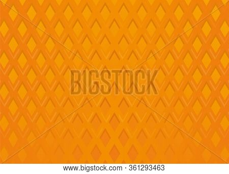 Orange Waffle Background. Wafer Pattern. Sweet And Delicious Food. Vector Illustration
