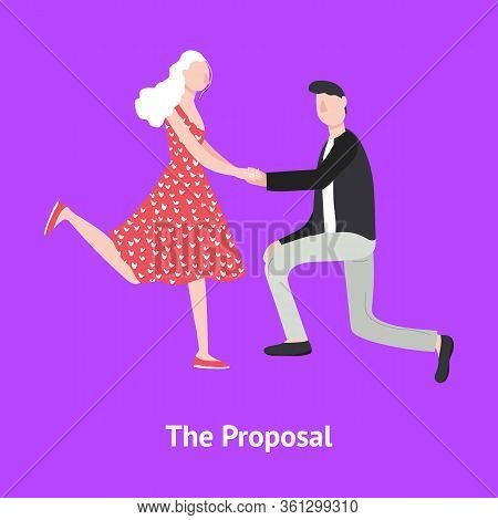 Cartoon Character Man Proposing Woman To Marry Card Couple Concept Element Flat Design Style. Vector