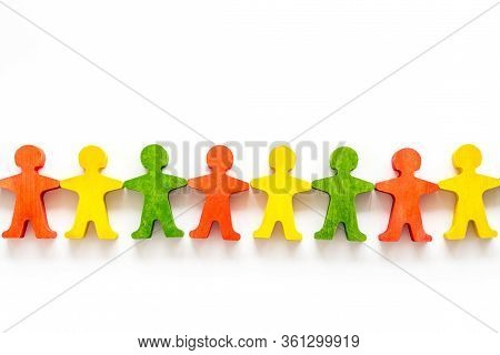 Tolerance, Social Protection, Anti-discrimination Concept. Wooden Human Figures On White Table, Top