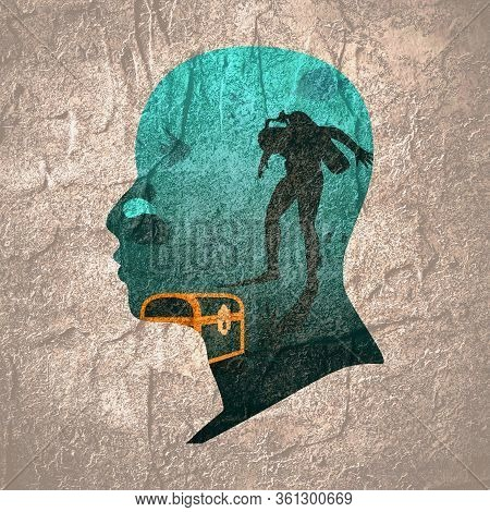 Silhouette Of Diver. Underwater World Background. Double Exposure Portrait Of Young Man And Underwat