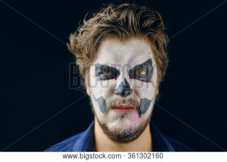 Make-up Man Of The Day Of Death On Halloween, Evil Glance. Copy Space