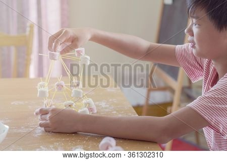 Mixed Race Asian Preteen Boy Building Tower With Spaghetti And Marshmallow Learning Remotely At Home