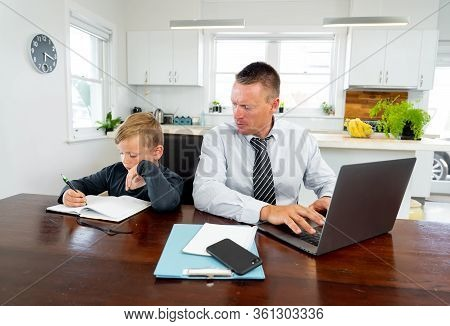 Coronavirus Outbreak Schools And Offices Closing. Stressed Parent Trying To Cope With Remote Work An