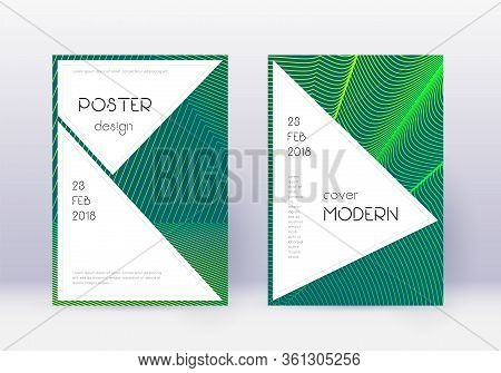 Stylish Cover Design Template Set. Green Abstract Lines On Dark Background. Fancy Cover Design. Beau