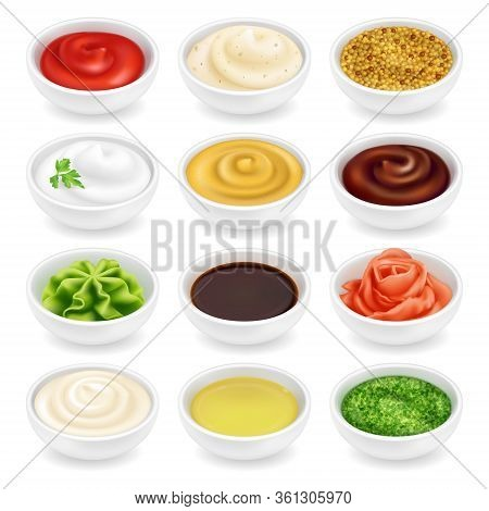Many Different Sauces In Round Bowls Set. Various Ketchup Mustard Condiment In 3d Realistic Style. S