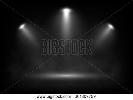 Vector Spotlights On Scene With Light Beams In The Smoke. Design For Presentation Your Product.