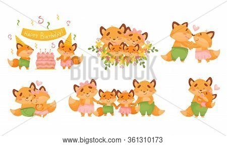 Happy Fox Family Celebrating Birthday Of Their Little Cubs Vector Set