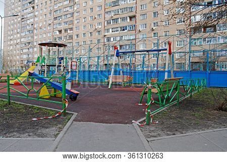 Vidnoe (moscow Region), Russia - April 12, 2020: Unauthorized Entry To The Playground During Quarant
