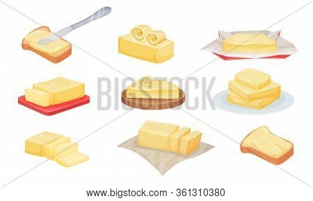 Butter Slices And Rolls Rested On Cutting Board Vector Set