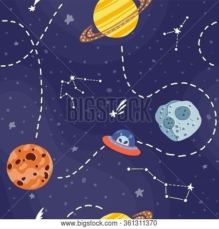 Galaxy Seamless Pattern Design. Cute Design For Kids Fabric And Wrapping Paper. Bright Childish Tile