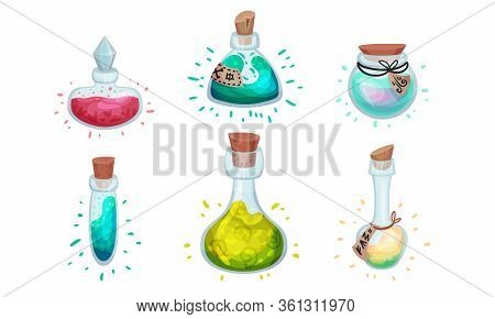 Glass Bottles And Jars With Potion Corked With Bottle Cap And Lid Vector Set