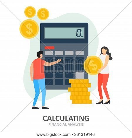 Calculating. Men And Women Analyze Company Financial Situation Calculating. Accountant Make Finance