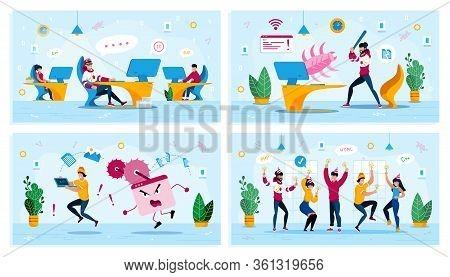 Employees Motivation, Internet Threat, Corporate Party Trendy Flat Vector Concepts Set. Procrastinat