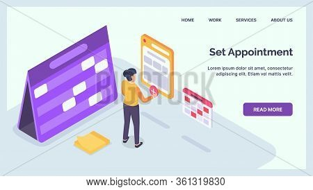 Set An Appointment For Business Professional With Calendar And Date Time For Website Landing Homepag