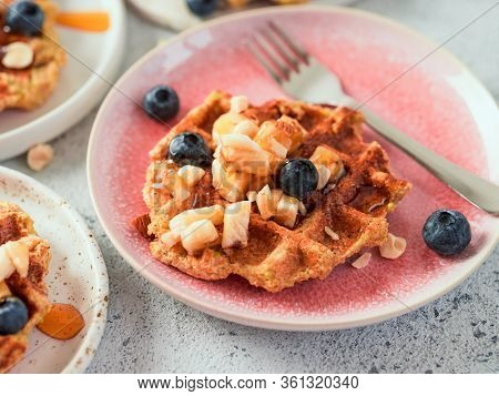 Easy Healthy Gluten Free Oat Waffles With Copy Space. Appetizing Homemade Waffles With Oat Flour Dec