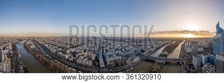 Dec 13, 2019 - Paris, France: Aerial Panorama Drone Shot Of Neuilly Levallois In Paris With Tour Eif