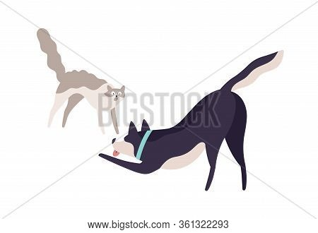 Cartoon Scared Cat And Excited Dog Fighting Vector Flat Illustration. Cute Colorful Domestic Animal