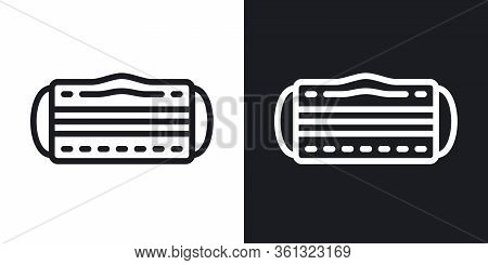 Medical Mask, Face Mask Or Dentist Mask Icon. Simple Two-tone Vector Illustration On Black And White