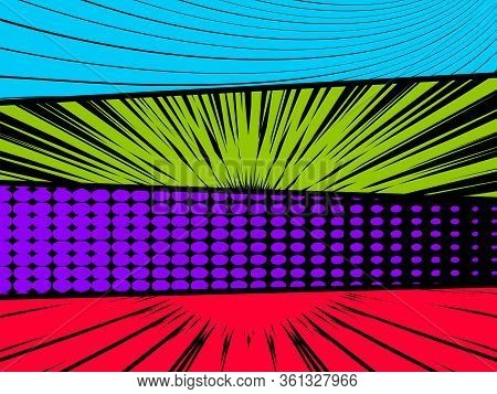 Comics Book Style Layout Blank Copy Space With Vibrant Colors Landscape On Black