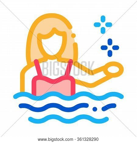 Woman Swimmer Icon Vector. Woman Swimmer Sign. Color Symbol Illustration
