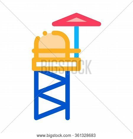 Rescue Tower Icon Vector. Rescue Tower Sign. Color Symbol Illustration
