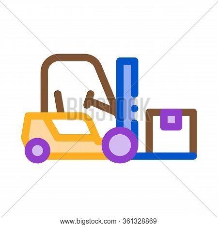 Forklift Car Icon Vector. Forklift Car Sign. Color Symbol Illustration