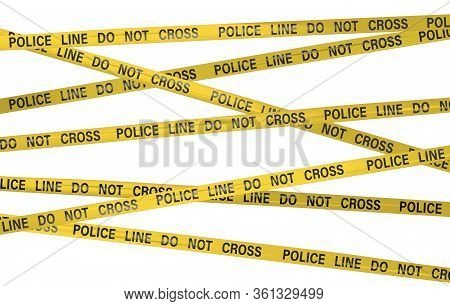 Police Line Do Not Cross Yellow Tape Barrier. Danger Zone Access Restricted. Graphic Illustration Po