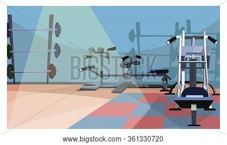 Gym Interior Illustration. Workout Equipment, Fitness Club, Bars. Sport Concept. Can Be Used For Top