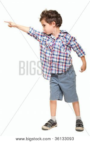 Little Boy Pointing Away