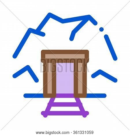 Mine Entrance Icon Vector. Mine Entrance Sign. Color Symbol Illustration